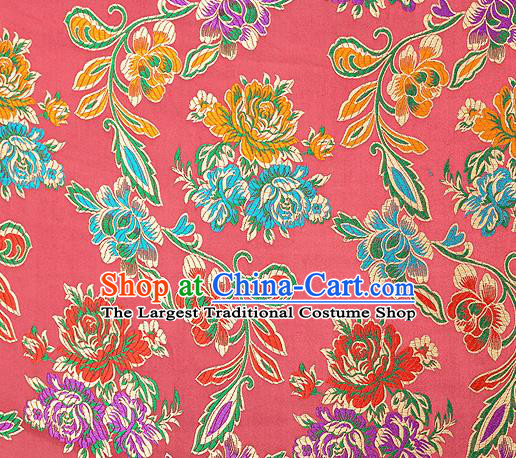 Traditional Chinese Tang Suit Silk Fabric Watermelon Red Brocade Material Classical Peony Pattern Design Satin Drapery