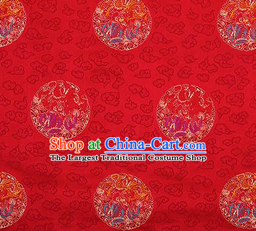 Traditional Chinese Tang Suit Silk Fabric Red Brocade Material Classical Round Dragons Pattern Design Satin Drapery