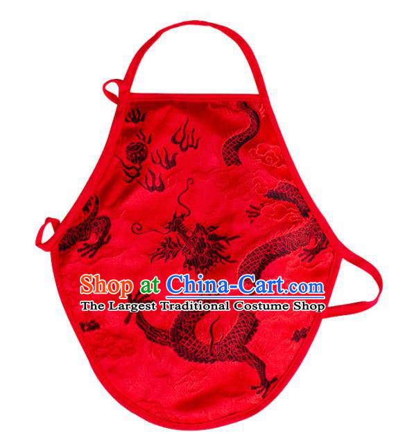 Chinese Classical Embroidered Dragon Brocade Bellyband Traditional Baby Red Silk Stomachers for Kids