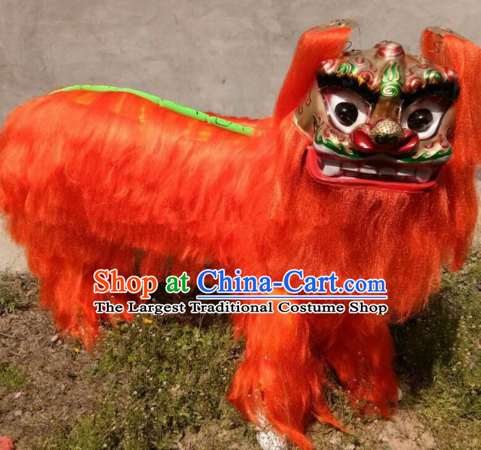 Chinese Traditional Lion Dance Orange Fur Costumes Spring Festival Lion Dance Props for Kids