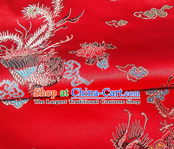 Asian Chinese Traditional Fabric Red Brocade Silk Material Classical Dragon Phoenix Pattern Design Satin Drapery