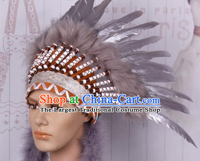 Halloween Savage Catwalks Deluxe Grey Feather Headdress Cosplay Apache Knight Feather Hair Clasp for Adults