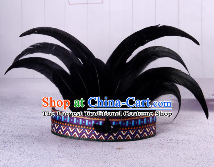 Halloween Savage Catwalks Deluxe Black Feather Headdress Cosplay Apache Knight Feather Hair Clasp for Adults