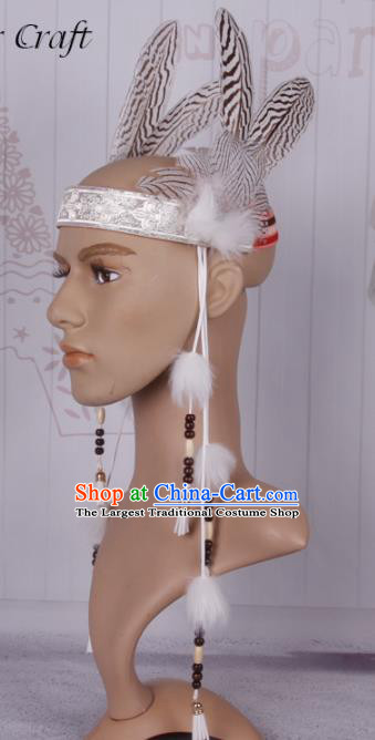 Halloween Savage Catwalks Feather Headdress Cosplay Apache Knight Feather Hair Clasp for Adults