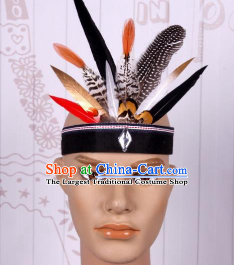Halloween Savage Catwalks Colorful Feather Headdress Cosplay Apache Knight Feather Hair Clasp for Adults