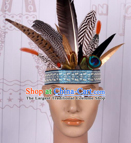 Halloween Catwalks Savage Colorful Feather Headdress Cosplay Apache Knight Feather Hair Clasp for Adults