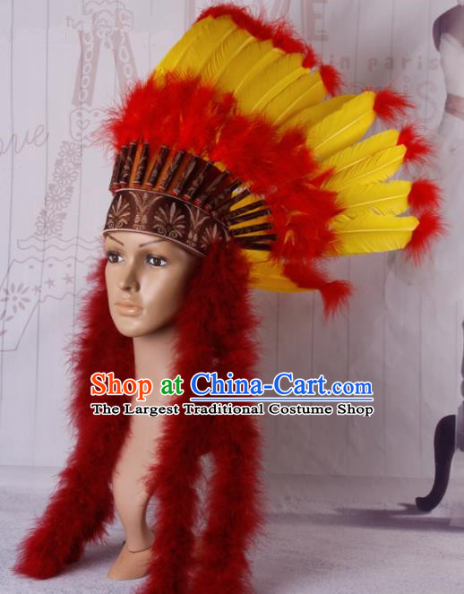 Halloween Catwalks Primitive Tribe Deluxe Feather Headdress Cosplay Apache Knight Feather Hat for Adults