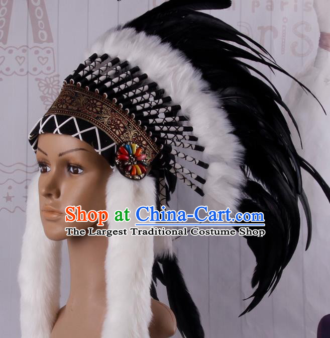 Halloween Catwalks Primitive Tribe Deluxe Black Feather Headdress Cosplay Apache Knight Feather Hat for Adults