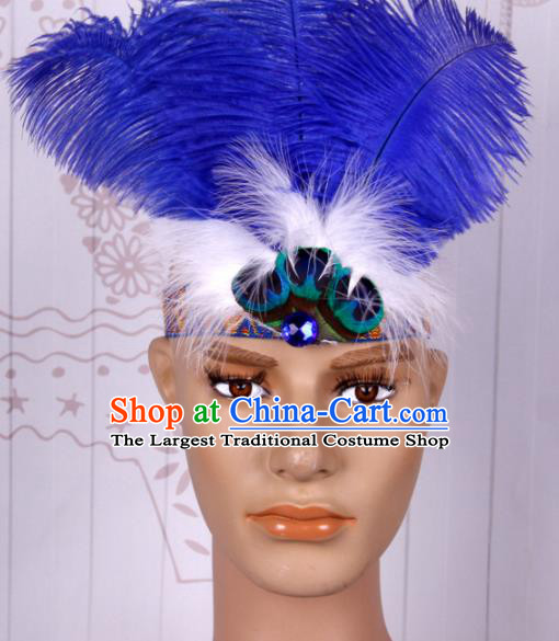 Halloween Catwalks Blue Feather Headdress Cosplay Apache Knight Feather Hair Clasp for Adults