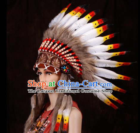 Halloween Donald Catwalks Deluxe Feather Headdress Cosplay Apache Knight Feather Hat for Adults