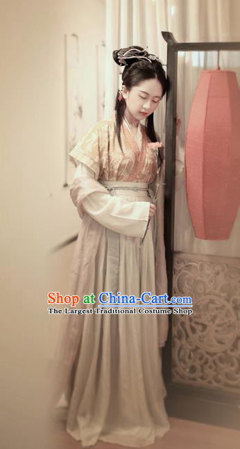 Chinese Ancient Palace Princess Hanfu Dress Tang Dynasty Embroidered Costumes Complete Set for Women