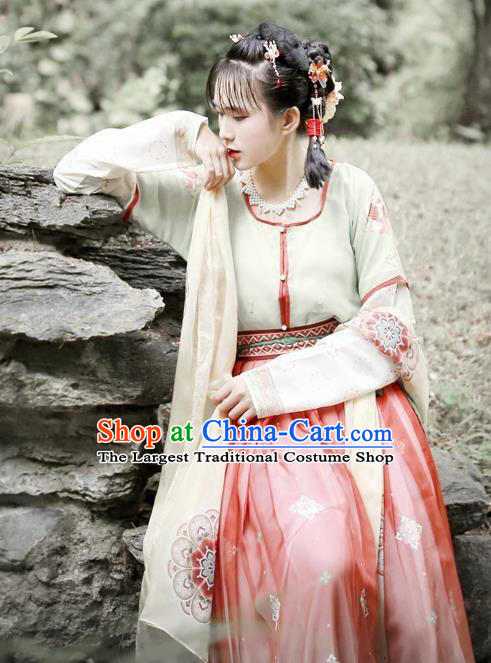 Traditional Chinese Ancient Princess Hanfu Dress Tang Dynasty Court Maid Embroidered Costumes for Women