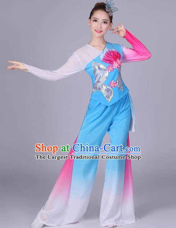 Chinese Traditional Classical Dance Costumes Folk Dance Yanko Fan Dance Blue Clothing for Women