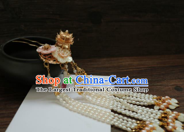 Chinese Traditional Handmade Hair Accessories Ancient Pearls Tassel Hairpins Headwear for Women