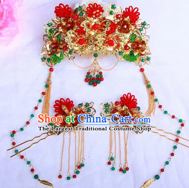 Chinese Traditional Handmade Wedding Phoenix Coronet Hair Accessories Ancient Bride Hairpins Complete Set for Women