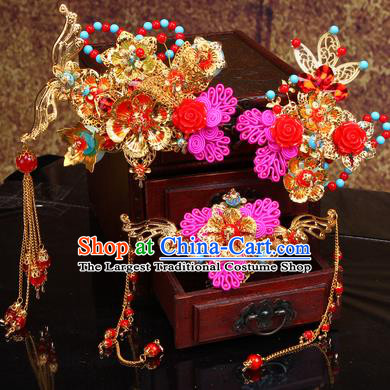 Chinese Traditional Handmade Wedding Hair Accessories Hair Comb Ancient Bride Hairpins Complete Set for Women