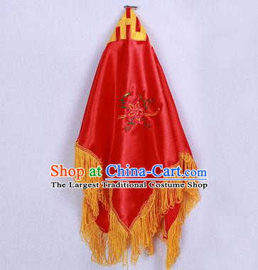 Chinese Traditional Handmade Red Bridal Veil Hair Accessories Ancient Embroidered Head Cover for Women