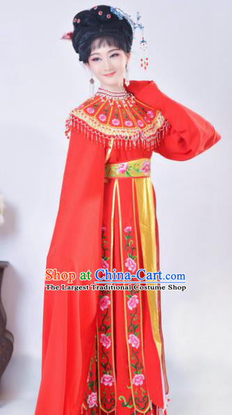 Chinese Traditional Peking Opera Queen Red Costumes Ancient Empress Dress for Adults