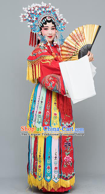 Chinese Traditional Beijing Opera Actress Costumes Ancient Imperial Consort Red Embroidered Dress for Adults