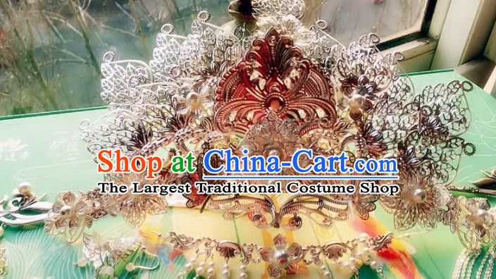 Handmade Chinese Ancient Phoenix Coronet Hair Accessories Hanfu Hairpins for Women