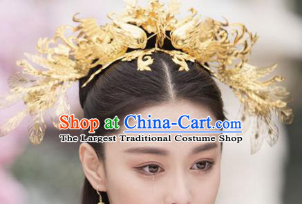 Handmade Chinese Golden Phoenix Coronet Ancient Hair Accessories Hanfu Hairpins for Women