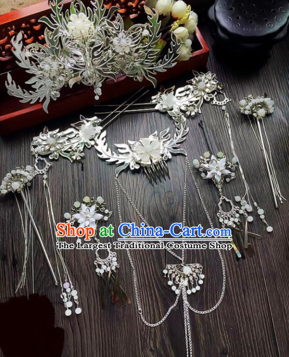 Chinese Handmade Ancient Phoenix Coronet Palace Hair Accessories Hanfu Tassel Hairpins Complete Set for Women