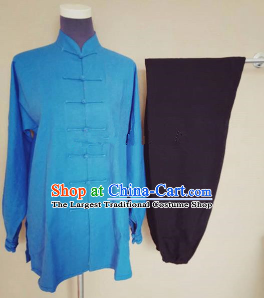 Chinese Traditional Martial Arts Linen Costumes Tai Chi Tai Ji Training Blue Shirt and Black Pants for Adults