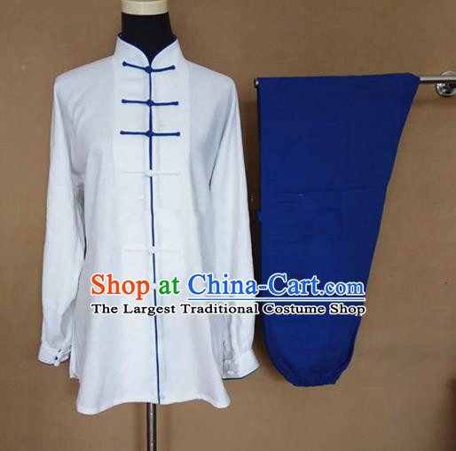 Chinese Traditional Martial Arts Linen Costumes Tai Chi Tai Ji Training White Shirt and Blue Pants for Adults