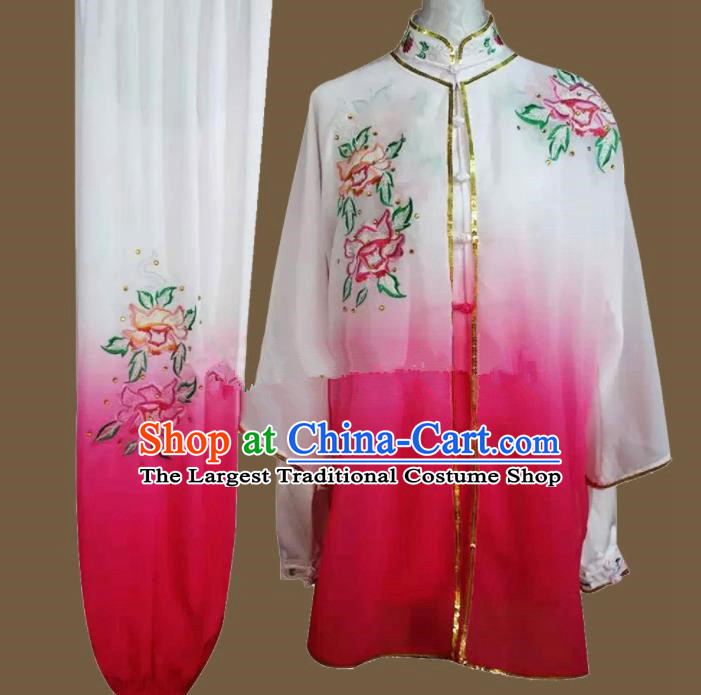 Chinese Traditional Kung Fu Martial Arts Embroidered Peony Rosy Costumes Tai Chi Training Clothing for Women