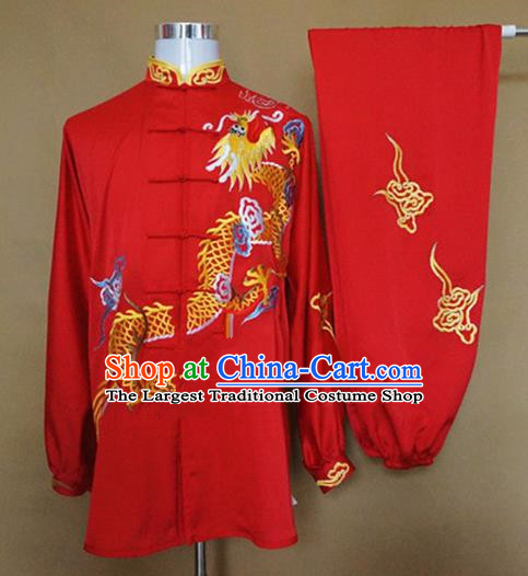 Chinese Traditional Martial Arts Red Costumes Tai Chi Kung Fu Training Embroidered Dragon Clothing for Adults