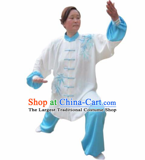 Chinese Traditional Kung Fu Embroidered Bamboo Costumes Martial Arts Tai Chi Training Clothing for Women
