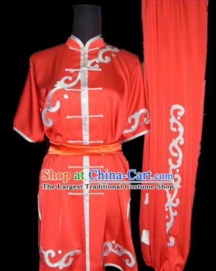 Chinese Traditional Kung Fu Red Silk Costumes Martial Arts Tai Chi Training Clothing for Women