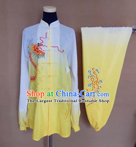 Chinese Traditional Martial Arts Embroidered Dragon Yellow Costumes Tai Chi Tai Ji Training Clothing for Adults