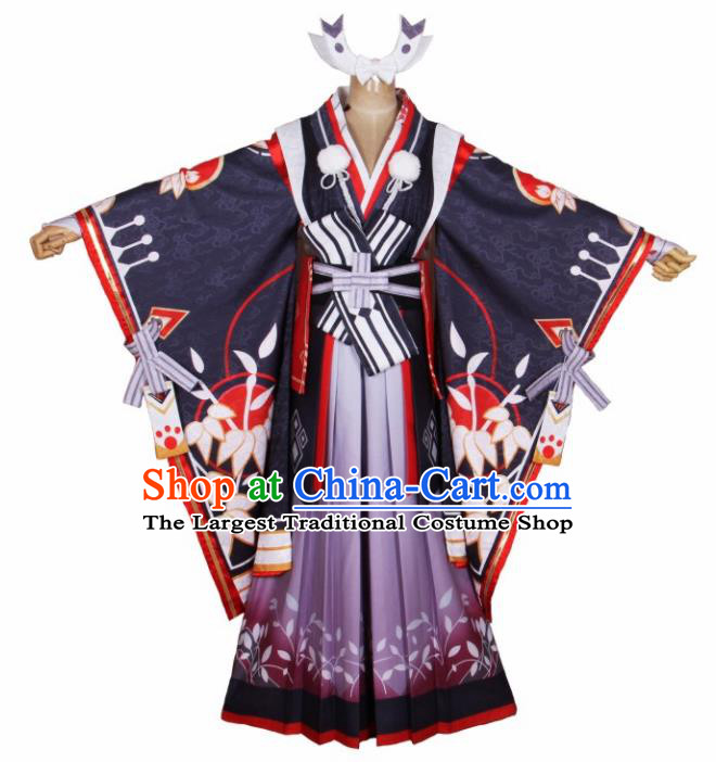 Asian Japanese Traditional Cosplay Swordswoman Costumes Ancient Kimono Yukata Clothing for Women
