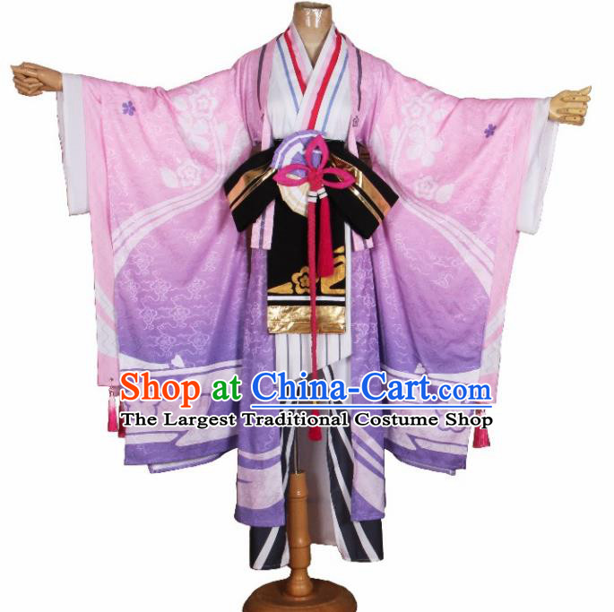 Asian Japanese Traditional Cosplay Yokime Costumes Ancient Pink Furisode Kimono Yukata Clothing for Women