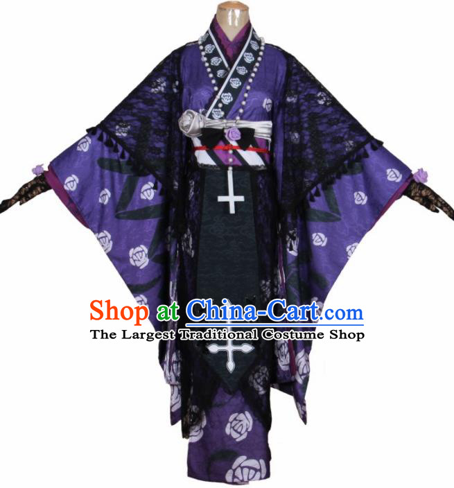 Asian Japanese Traditional Cosplay Costumes Ancient Purple Furisode Kimono Yukata Clothing for Women