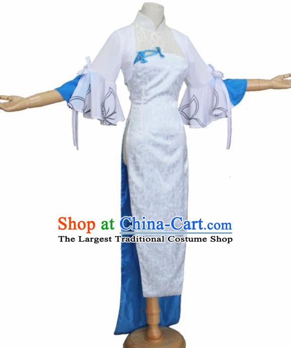 Chinese Traditional Cosplay Costumes Ancient Swordswoman White Qipao Dress for Women