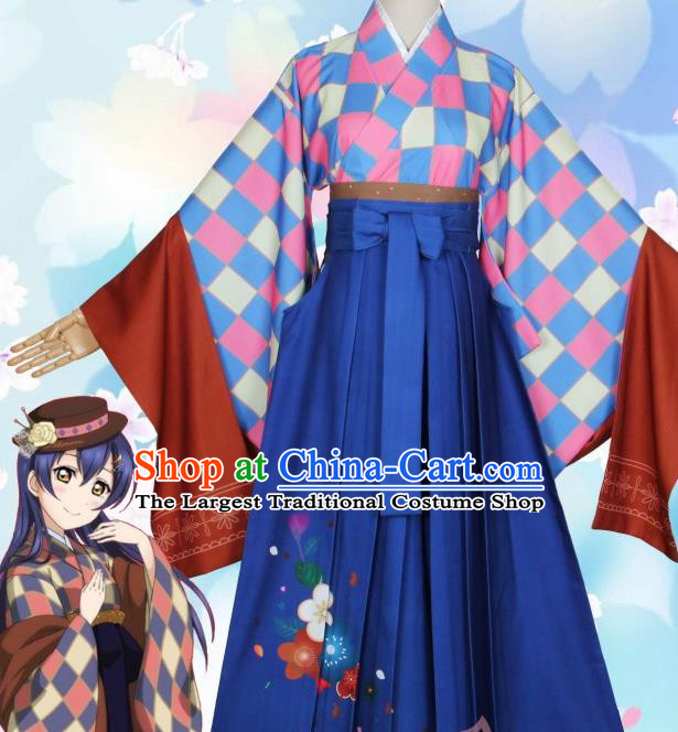 Asian Japanese Traditional Furisode Kimono Cosplay Costumes Ancient Geisha Yukata Clothing for Women