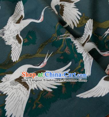Asian Japanese Traditional Kimono Atrovirens Brocade Fabric Silk Material Classical Cranes Pattern Design Drapery
