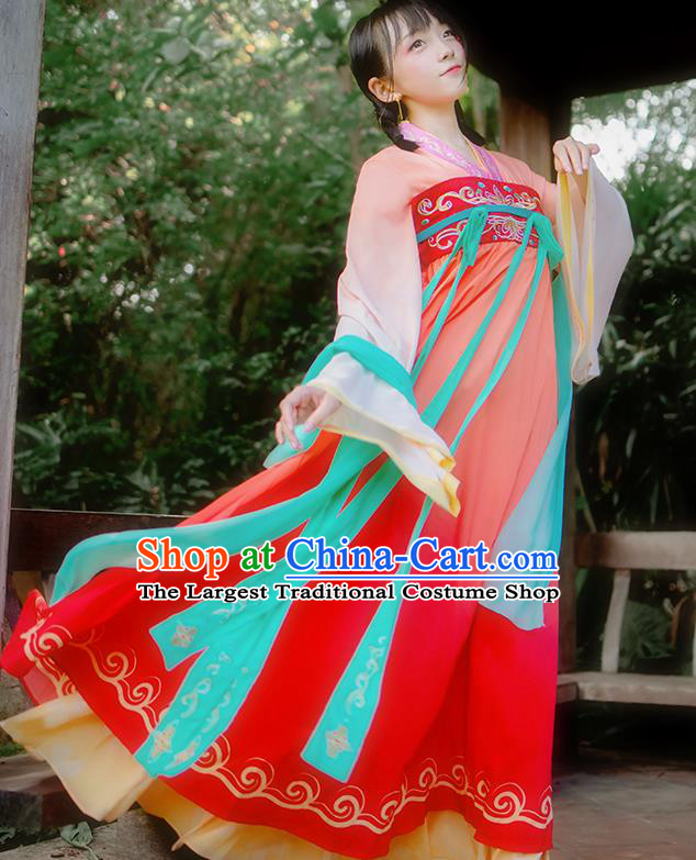 Chinese Traditional Cosplay Princess Costumes Ancient Peri Red Hanfu Dress for Women