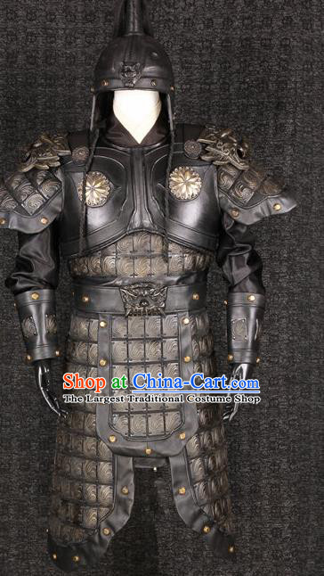 Chinese Traditional Qin Dynasty Soldier Costumes Ancient General Helmet and Armour for Men