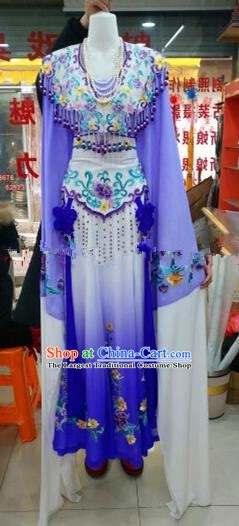 Chinese Traditional Beijing Opera Princess Purple Silk Dress Ancient Peri Embroidered Costumes for Women