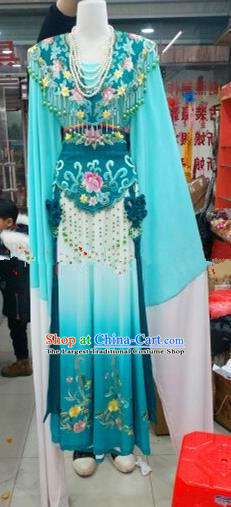 Chinese Traditional Beijing Opera Princess Blue Silk Dress Ancient Peri Embroidered Costumes for Women