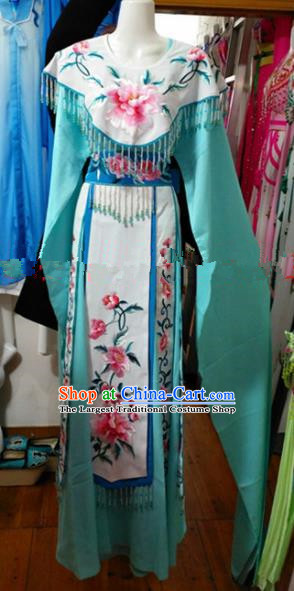 Chinese Traditional Beijing Opera Imperial Consort Green Dress Ancient Peri Embroidered Costumes for Women