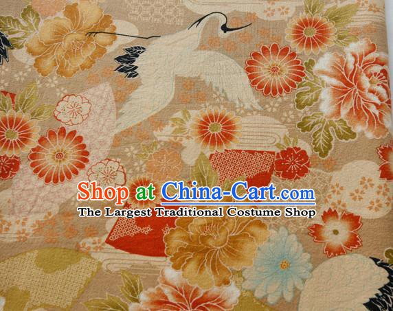 Asian Japanese Traditional Kimono Brocade Fabric Silk Material Classical Cranes Peony Pattern Design Drapery