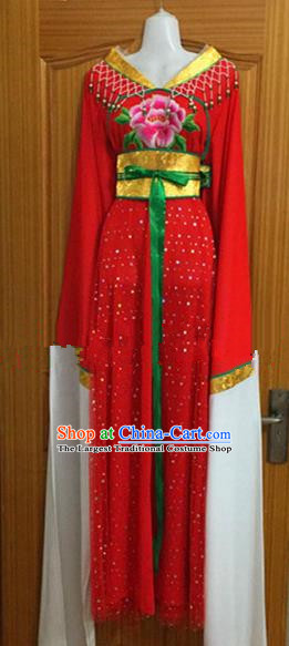 Chinese Traditional Beijing Opera Nobility Lady Red Dress Ancient Peri Embroidered Costumes for Rich