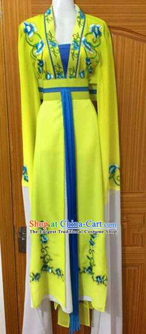 Chinese Traditional Peking Opera Peri Yellow Dress Ancient Nobility Lady Embroidered Costumes for Rich