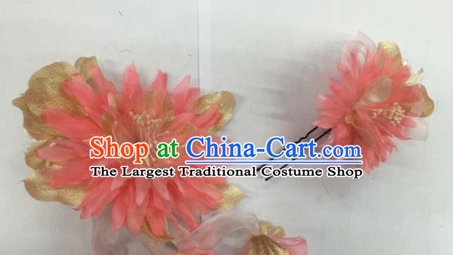 Chinese Traditional Beijing Opera Pink Silk Flowers Hairpins Ancient Peri Hair Accessories for Women