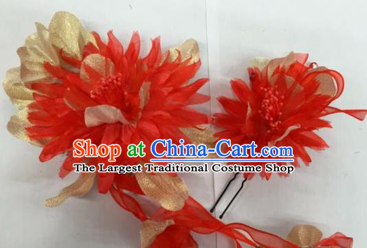 Chinese Traditional Beijing Opera Red Silk Flowers Hairpins Ancient Peri Hair Accessories for Women