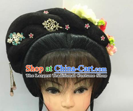 Chinese Traditional Ancient Beijing Opera Fairy Wig Sheath and Hairpins Hair Accessories for Women